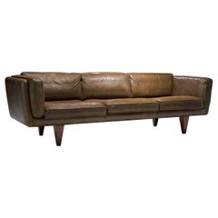 """Model V11"" Three-Seat Leather Sofa by Illum Wikkelsø, Denmark, 1960s"