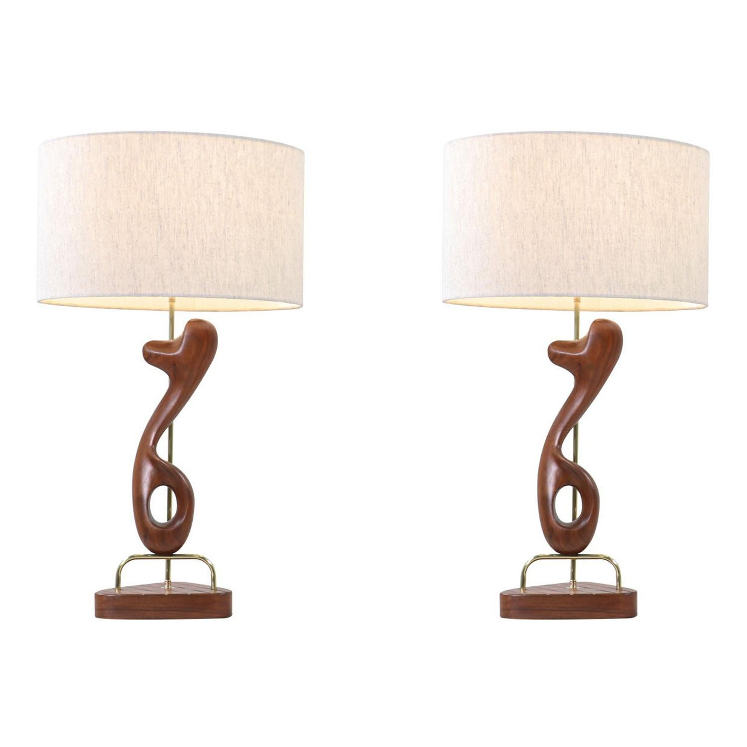 Modeline of California Sculpted Walnut & Brass Table Lamps