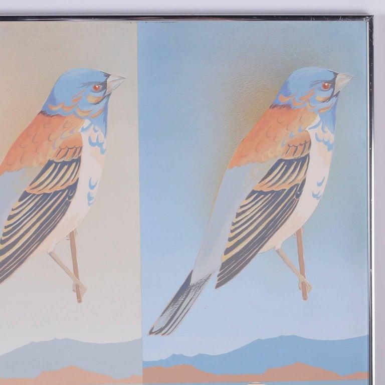 Mid-Century Modern Moderist Acrylic Painting of Birds For Sale