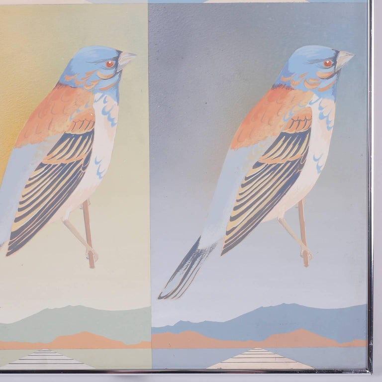 American Moderist Acrylic Painting of Birds For Sale