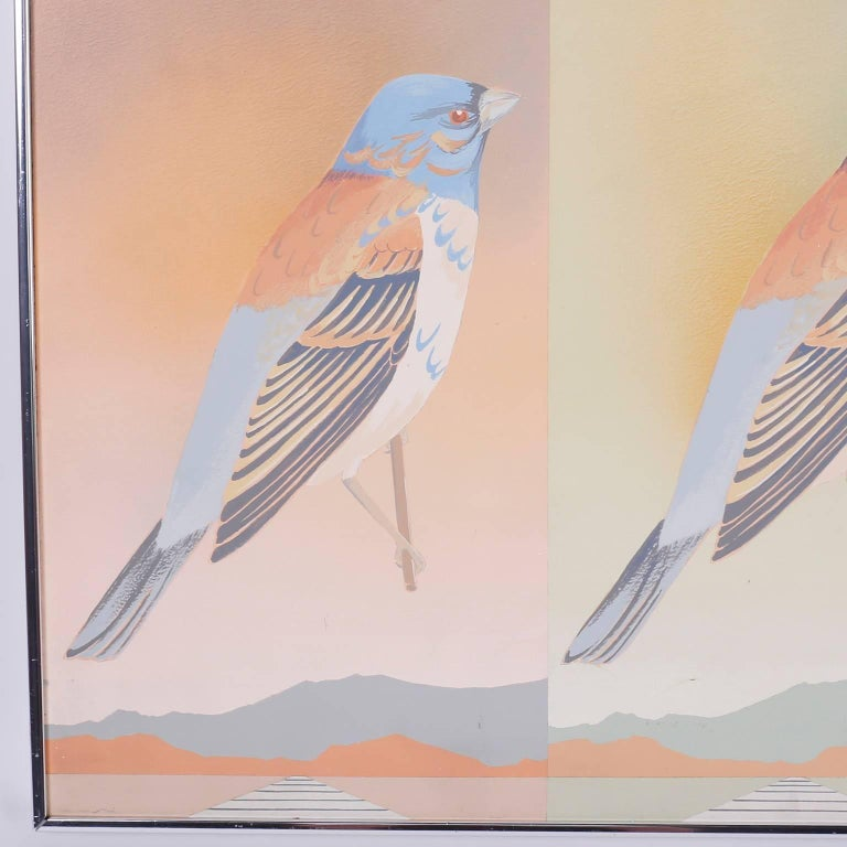 Moderist Acrylic Painting of Birds In Good Condition For Sale In Palm Beach, FL
