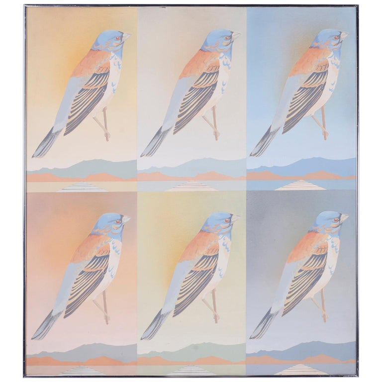 Moderist Acrylic Painting of Birds For Sale