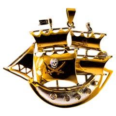 "Modern 0.10 Carat White Diamond Yellow Gold ""Pirate Ship"" Pendant Necklace"
