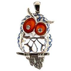 Modern 0.60 Carat White Diamond 4.10 Carat Blue Sapphire White Gold Owl Pendant