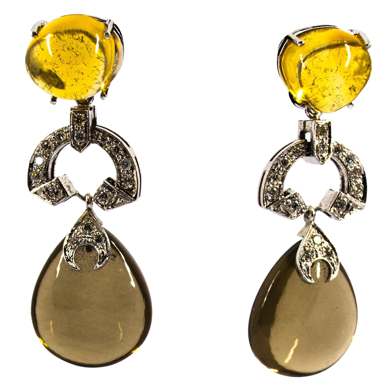 Modern 0.60 Carat White Diamond Fumé Quartz Citrine White Gold Clip-On Earrings