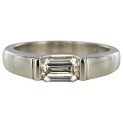 Modern 0.75 Carat Emerald-Cut Diamond Platinum Ring