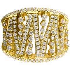 Modern 0.786 Carat Diamond 18 Karat Gold Band Ring