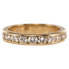 Modern 0.80 Carat Diamonds 14 Karat Yellow Gold Half Wedding Ring