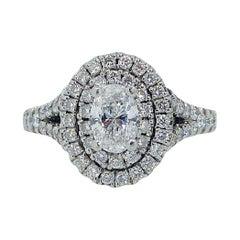 Modern 0.90 Carat Diamond Halo Engagement Ring, Certified Oval Cut Diamond