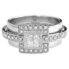 Modern 1.00 Carat Diamond White Gold Ladies Engagement Ring