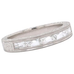 Modern 1.00 Carat French Cut Diamond Platinum Half Eternity Band