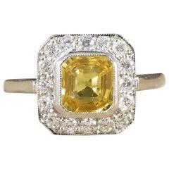 Modern 1.00ct Asscher Cut Yellow Sapphire and Diamond Cluster Ring in Platinum