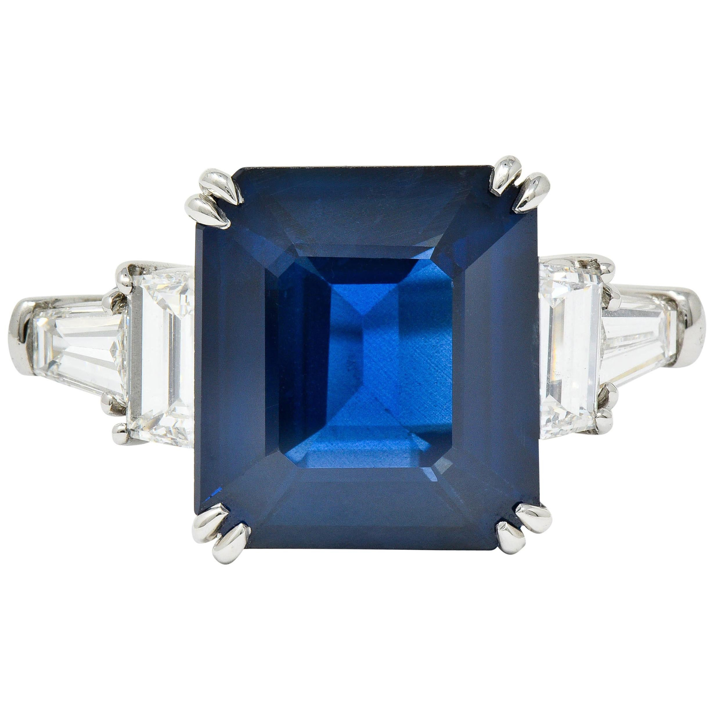 Modern 10.41 Carat Sapphire Diamond Platinum Statement Ring