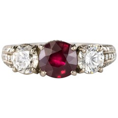 Modern 1.07 Carat Ruby 1.17 Carat Diamond White Gold Ring