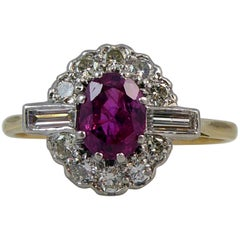 Modern 1.15 Carat Ruby Diamond Ring, Cluster Style