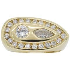 Modern 1.28 Carat Diamond Ring with Marquise and Round Diamonds