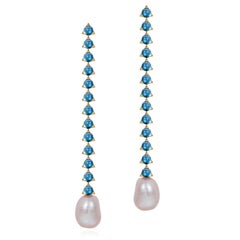 Modern 13 stone 4mm Baroque Pearl Earring in 18k yellow gold, London Blue Topaz