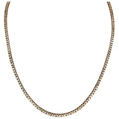 Modern 14 Carat Diamonds Rose Gold Tennis Chain