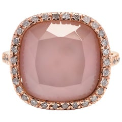 Modern 14 Karat Rose Gold, Rose Quartz, Mother of Pearl and Diamond Ring