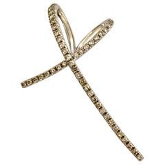 Modern 14 Karat White Gold Diamond Continues Heart Pendant