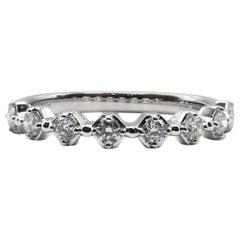 Modern 14 Karat White Gold Round Brilliant Diamond Wedding Band Stackable Ring