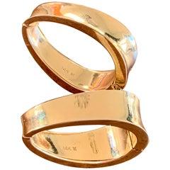 Modern 14 Karat Yellow Gold Wide Hoop Clip Earrings
