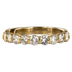 Modern 1.49 Carat Diamond 18 Karat Yellow Gold Wedding Band Ring
