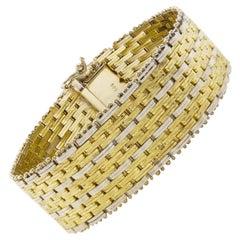 Modern 14k Bicolor Textured Woven Gold Flexible Strap Bracelet