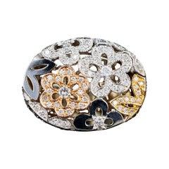 Modern 14k Gold 1 Carat Round Brilliant Diamond Flower Ring