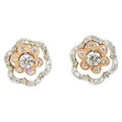 Modern 1.50 Carat Diamond 4 Way Earrings Custom Made