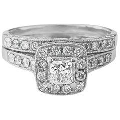 Modern 1.50 Carat Diamond Engagement Ring in 14 Karat White Gold