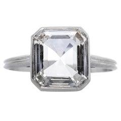 Modern 1.57 Carat Emerald Cut Diamond Platinum Engagement Ring