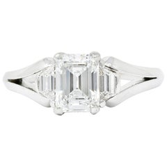 Modern 1.60 Carat Emerald Cut Diamond Platinum Engagement Ring GIA