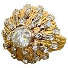 Modern 1.7 Carat Brilliant Cut Diamond 18 Karat Yellow Gold Dome Ring - Size 6