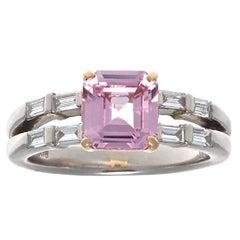 Modern 1.73 Carat Pink Sapphire Diamond Platinum Ring