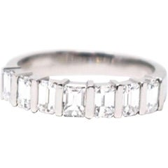 Modern 1.75 CTW Emerald Cut Diamond Platinum Wedding Band Ring