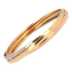 Modern 18 Karat 3 Colors Gold 3 Bangles Bracelet