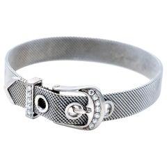 Modern 18 Karat Gold and Diamonds Belt Buckle Bracelet