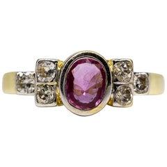 Modern 18 Karat Gold Natural Ruby and Diamonds Ring