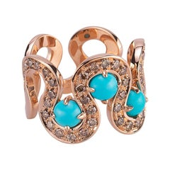 Modern 18 Karat Rose Gold 0.87 Karat Brown Diamonds Cabochon Torquoise Wave Ring