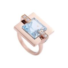 Modern 18 Karat Rose Gold Blue Topaz 0.27 Karat Diamonds Cocktail Design Ring