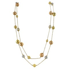 Modern 18 Karat Tricolor Gold Ball Two Strand Necklace White Yellow Rose Gold