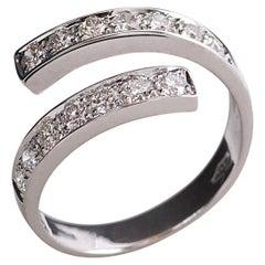 """Modern 18 Karat White Gold 0.42 Karat White Diamonds """"Spiral"""" Engagement Ring"""