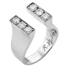 Modern 18 Karat White Gold 0.54 Karat White Diamonds Engagement Design Ring