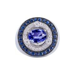 Modern 18 Karat White Gold 3.20 Karat Sapphires 0.30 Karat White Diamonds Ring