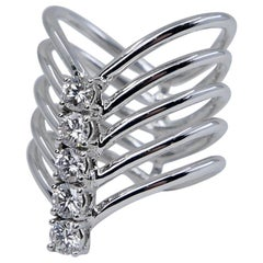Modern 18 Karat White Gold 5-Stone Diamond Wave Ring
