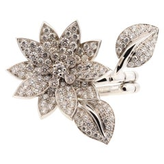 Modern 18 Karat White Gold Diamond Van Cleef & Arpels Lotus Ring