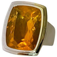 Modern 18 Karat Whitel Gold Statement Ring with Mexican Fire Opal