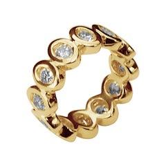 """Modern 18 Karat Yellow Gold 2.40 Karat White Diamonds """"Ellipse"""" Engagement Ring"""