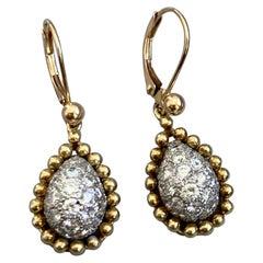 Modern 18 Karat Yellow Gold and Platinum Pave Diamond Teardrop Pierced Earrings